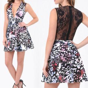 bebe plunge flared skirt scuba dress XL